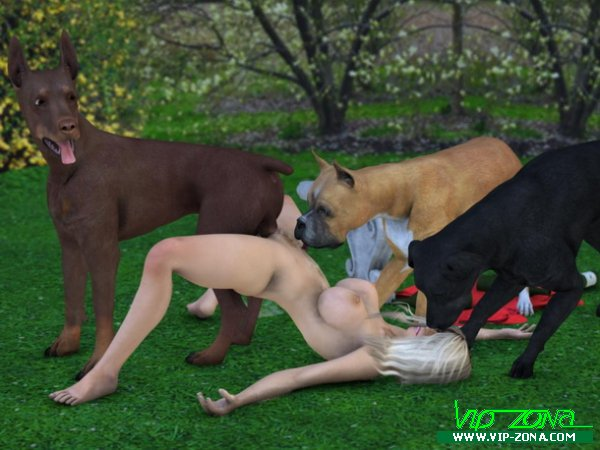 """""""Art bay Canis 3"""". woman and dogs"""